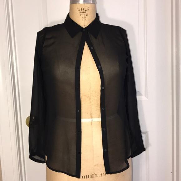 305a06b1 a.n.a Tops   Black Sheer Button Down Shirt   Poshmark